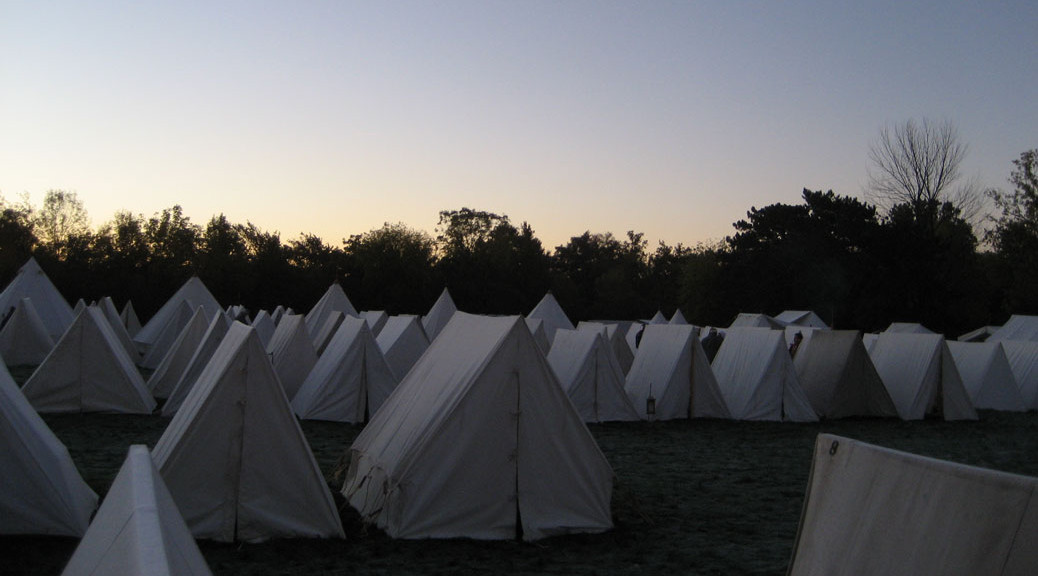 Dawn in a Wedge Tent Encampment