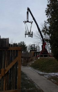 Hoisting the Cannon into Position from the railbed